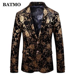 BATMO 2019 nouvelle arrivée printemps haute qualité velours imprimé blazer occasionnel hommes, la mode masculine costumes vestes, plus la taille M-5XL 915