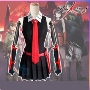 Alta Qualidade Anime Akame ga matar! Akame Homens Mulheres fresco Suit Uniform Cosplay Vestido + camisa + gravata
