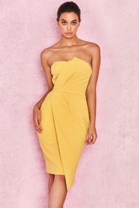 패션 노란색 Ruched 여름 오프 어깨 민소매 붕대 드레스 비대칭 앙 포장 가슴 여성 클럽 파티 Bodycon 드레스 Vestidos