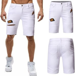 Designer Mens Jean Shorts Summer Knee Length Holes Embroidery Mens Jeans Fashion White Ripped Male Clothing Luxury