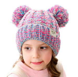 Мульти цвета Дети зимы теплые Hat шарика Beanie вязания крючком мальчиков девочки вязаная теплая шапка