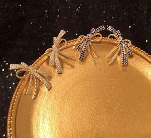 Zircon bow tie earrings creative irregular simple super fairy chic women ear accessories