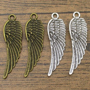 Great Detailed Big Wing Charms 15PCS Lot 45*14mm Jewelry DIY Earring Pendants Charm Bracelet 2 Colors Available-WY1124