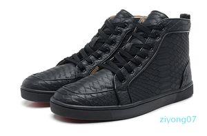 Red Snakeskin Sneakers fond pour les hommes de luxe de haute Baskets montantes Skate Hommes Femmes Comfort Souliers simples Prix de gros Size36-46 de Z07