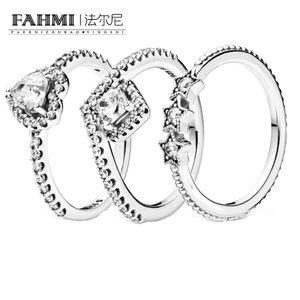 Fahmi Yeni 925 Gümüş Kare Glitter Wishbone Yükselmiş Kalp Sky Star Ring Kadın Nişan ve Alyans