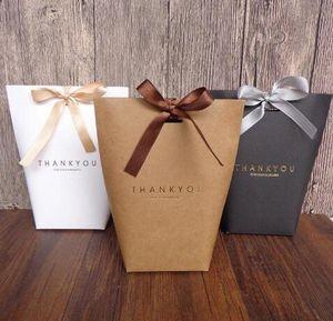 Gracias Merci Regalo Wrap Bolsa de regalo Boda Boda Boda Fiesta Favors Favores Bolsas Artículo Hecho A Mano Bolsa Candy Jewelry Necktie Packaging Boxgb1593