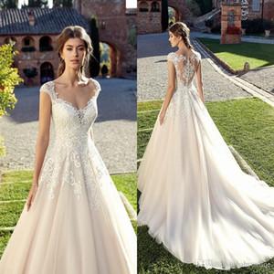 Новые чешские Сад Свадебные платья Simple Line Кружева Аппликации Cap рукава Длинные Свадебные платья Дешевые платье венчания