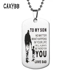 Caxybb New My Son Hundemarke Edelstahl Vater-Sohn-Anhänger Halskette Namensschild Halskette Liebesgeschenk für meinen Sohn
