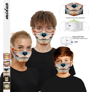 US Stock Family Use Printed Cotton Party Anime Mask Adult Kids Face Mouth Muffle Mask Reusable Anti Dust Windproof Washable Ear Loop Mask