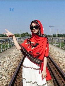 arte retro cuentas de madera Aiyou bordean versión coreana de 7joker con recorrido femenina bufanda larga bufanda roja protector solar chal