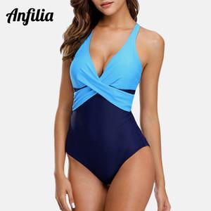 Anfilia donne vestito di un pezzo dello Swimwear del costume da Colorblock anteriore trasversale Bathing Patchwork Beachwear Monokini