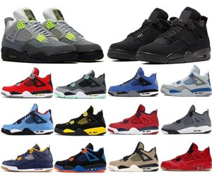 Cheap Jumpman 4 4s Men Basketball Shoes Black Cat 2020 What The Neon Cool Grey Winterized Loyal Blue Designer Shoes Sport Sneakers 7-13