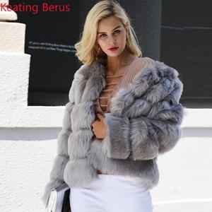 Keating Berus Women's Fake Fur Imitation Fox Fur Winter Coat Fashion Shirt Women's Slim Elegant Warm Clothing 0616