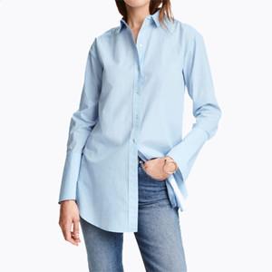 السيدات مثير قميص الرياح بارد الفتيات أزياء بسيطة بلون واحد برستد الجبهة قصيرة قميص طويل
