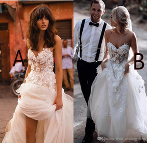 Custom Made 2020 Spaghetti pannello esterno a file Backless Plus Size elegante giardino Paese Abiti da sposa bianco Beach Wedding Dresses Con Floreale 3D