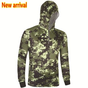 New camouflage Outdoor men fishing clothes breathable quick dry Anti Sai UV Anti mosquit long sleeve hooded women fishing Shirts