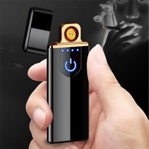 2019 Нового USB Электронной зарядки зажигалки Двухсторонних сигареты аксессуары Сенсорные электрические Зажигалки аккумуляторная Плазменная ветрозащитные