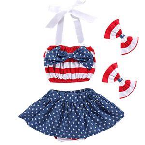 Baby Girl юбка Set American Independence Флаг Национальный день США 4 июля Bow звезды ремень верхней части пробки юбка в полоску волос Зажимы Четыре-Piece Set