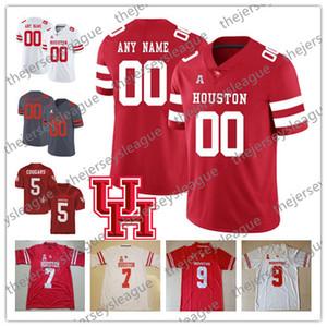 Houston Cougars Custom Cualquier número Cualquier nombre Cosido Gris Rojo Blanco # 7 Estuche Keenum 9 Nick Watkins NCAA College Football Jerseys