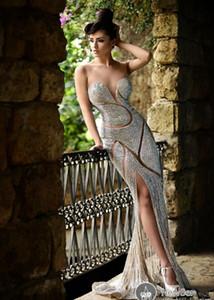 Robe de Soirée Robes de luxe strass Sheer Jewel bijoux Corset sirène longueur au tapis rouge Celebrity Party Robes de bal