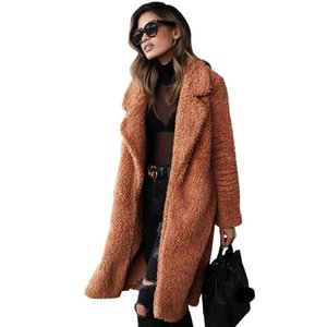 Winter Women Long Coat Faux Fur Long Sleeve Jacket Warm Overcoat Fleece Fourrure Femme Plus Size Coats And Jackets 2018 Autumn