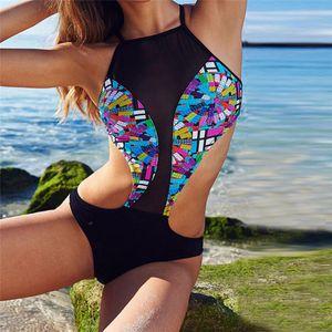 2018 One Piece Bandage Bikini Push New Patchwork Swimwear Splice Mulheres Up Monokini Swimsuit Maiô Natação Biquini