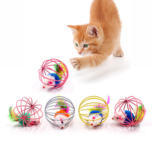 2020 Cat Interactive Toy Stick Feather Wand With Small Bell Mouse Cage Toys Plastic Artificial Colorful Cat Teaser Toy Pet Supplies