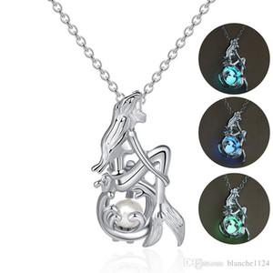 Neue Kreative Multicolor Luminous Mermaid Halsketten für Frauen Silber Überzogene Ketten Anhänger Halskette Modeschmuck Zubehör Großhandel