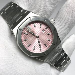 2020 Womens quadrante rosa orologio di buona qualità formato 33 millimetri royal oak acciaio inox argento quarzo del braccialetto fibbia pieghevole in vetro zaffiro