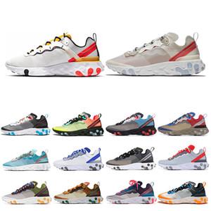 Hot Reagir Elemento 55 87 Running Shoes para Mens Womens Posto Yellow triplo preto real branca Tint Sail Mulheres Sports Sneakers tamanho 36-45