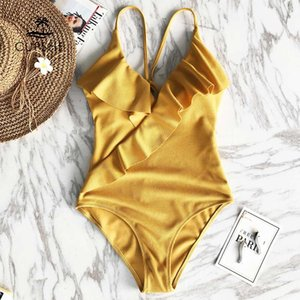 Happy Ending Sarı Katı Tek parça mayo Falbala V boyun fırfır Seksi parça bikini Ladies Beach Mayo Mayo