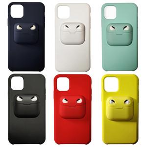 Pour AirPod Pro AirPods3 Cas 2 en 1 étui souple pour iPhone X 11 Pro Max XR Xs 8Plus Cover d'origine silicone liquide