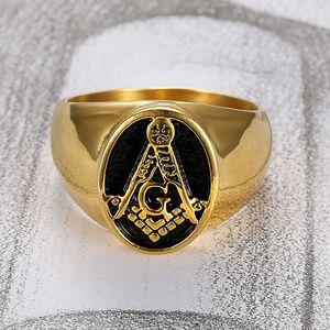 Klassische Goldfarbe Edelstahl Freimaurer Ringe für Männer Freimaurer Symbol AG Templer Freimaurerei Herren Ring Schmuck Großhandel
