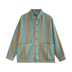 Iidossan 2020 chaquetas a rayas para hombre Streetwear japonés Harajuku abrigos hombres HipHop camisas Highstreet manga larga mujeres abrigos