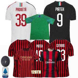 2019 2020 2021 AC Futebol IBRAHIMOVIC THEO Piatek SUSO CALHANOGLU Milan 120º aniversário 19 20 Men camisa de futebol mulheres crianças