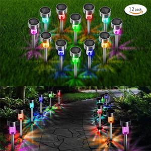 12pcs lot LED en acier inoxydable solaire 3,7 V extérieur pelouse lampe solaire IP65 étanche lumières couverture lampe jardin paysage paysagement pelouse