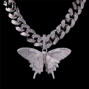 Iced Out Animal Big Butterfly Pendant Necklace Silver Blue Plated Mens Hip Hop Bling Jewelry Gift Wholesale