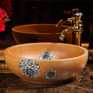 Jingdezhen fábrica diretamente Arte pintada à mão pia de cerâmica com padrão de cerâmica