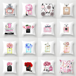 pillowcase fashion perfume bottle printing car Pillowcase Home Cloth sofa pillow Cushion cover wholesale To map custom made