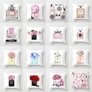 coche impresión frasco de perfume de moda funda de almohada de tela Inicio Funda de cojín almohada del sofá al por mayor Para asignar por encargo