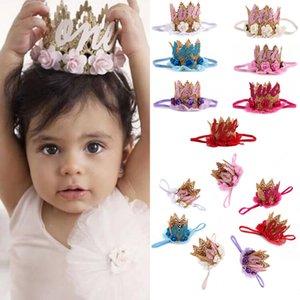 Güzel Bebek Saç Bandı Bebek Çocuk Taç Tiara Kafa doğum günü partisi Şapkalar Çocuk Çiçek Taç DIY Dekor