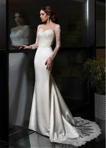 Smileven 2020 Mermaid Wedding Dress Vestidos Turquia apliques de renda Custom Made nupcial do casamento de manga comprida vestido de Robe de mariée sirène
