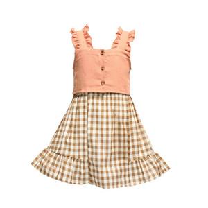 Kızlar Gömlek Etek Suit Çocuklar Suspenders Yelek + Ekose Etek 2 Adet Tops / Bebek fırfır Prenses Kıyafetleri Çocuk Yaz Giyim Seti M1722 setleri