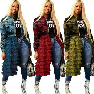 Newest DesIgn Women Camouflage Printed Mesh Ruffles Tiered Long Coats Fashionable Long Sleeves Crew Neck Panelled Lady Jackets Spring