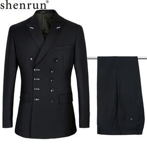 Shenrun 남성 슬림핏 새로운 패션 정장 더블 브레스트 피크 라펠 네이비 블루 블랙 웨딩 신랑 파티 댄스 파티 스키니 CostumeLY191112 정장