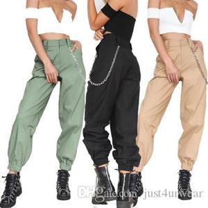 Женские брюки для женщин Capris Женские повседневные грузы свободный летний спорт длинный твердой хип-хоп улица женская одежда
