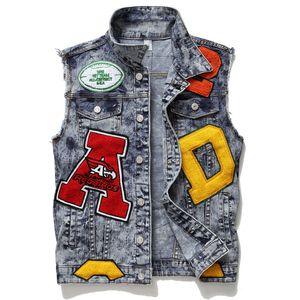 2020 Новая мода мотоциклов Мужчины Жилет Hip Hop LettersJeans Mens Denim Vest конструктора куртки без рукавов вышивки Череп пальто плюс размер M-3XL
