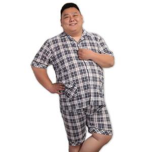 Sexy Plaid XXXXXL pyjamas sets men short summer pijamas nightwear for men night suit pajamas 140KG 5XL pyjama homme short