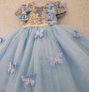 Perles de luxe Fleur Filles Robes de bal Princesse Illisuion Jewel cou à manches courtes d'or ligne papillon anniversaire jolie robe Bow enfants