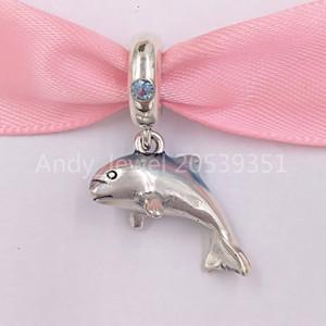 Auténticos 925 cuentas de plata esterlina de Pandora Brillante Dolphin encantos cuelgan el encanto se adapta al estilo europeo joyería de Pandora collar de las pulseras